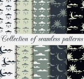 Set weather seamless patterns with raindrops, clouds with the sun and moon with the stars for wallpaper and design solutions. Collection of vector backgrounds Royalty Free Stock Photos