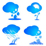 Set of weather and season icons. Royalty Free Stock Photos
