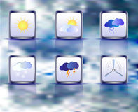 Set of weather square icons on a background of sky Royalty Free Stock Image
