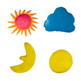 Set of weather sun cloud moon. Made from clay plasticine royalty free stock images