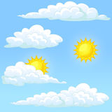 Set weather sun and clouds. Weather set white clouds and the yellow sun on a blue background. Vector cartoon illustration Royalty Free Stock Photo