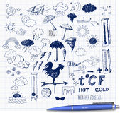 Set of weather symbols sketch Stock Photos