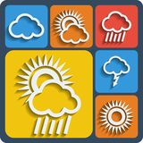 Set of 6 weather web and mobile icons. Vector. Stock Photos