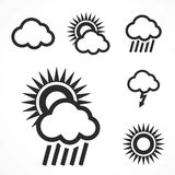 Set of 6 weather web and mobile icons. Vector. Stock Image