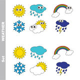 Set of weathers colorful. Royalty Free Stock Image
