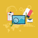 Set of web analytics information and development website statist. Ic. Flat icons. Vector illustration Stock Photography
