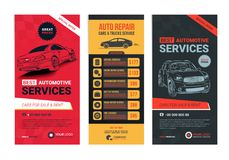 A Set of web Automotive services banners collection layouts. Vector illustration Stock Photography