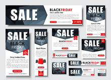 Set of web banner for Black Friday sales, standard sizes Stock Photos