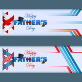 Set of web banner with Happy Father's day. Background with 3d text decorated with top hat, bow tie and smoking pipe Royalty Free Stock Photo