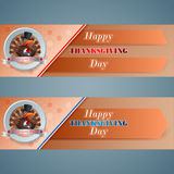 Set of web banner for Happy Thanksgiving Stock Image