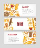 Set of web banner templates with delicious bread, pastry or baked products and place for text on white background. Colorful vector illustration for bakery or royalty free illustration