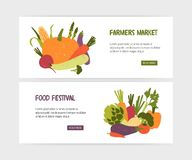 Set of web banner templates with tasty organic vegetables and place for text on white background. Colorful modern vector Royalty Free Illustration