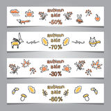 Set of web banners with autumn illustrations Stock Images