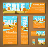 Set of web banners with autumn landscape for sale Stock Image