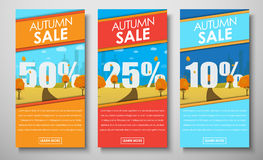 Set of web banners with autumn landscape for sales  Royalty Free Stock Images
