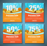Set of web banners with autumn landscape for sales at different Royalty Free Stock Images