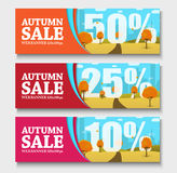 Set of web banners with autumn landscape for sales Stock Image