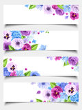 Set of web banners with blue and purple flowers. Vector illustration. Royalty Free Stock Photos