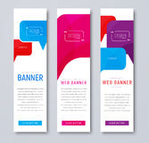 Set of web banners with colored bubbles talking and quoting. royalty free illustration
