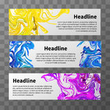 Set of web banners with colorful splashes and text place Stock Photos