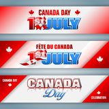 Web banners for Canada day, celebration. Set of web banners with 3d texts, maple leaf and national flag colors for first of July, Canada day, celebration; Vector Stock Image