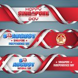 National day of Republic of Singapore, web banners. Set of web banners with 3d texts and national flag colors for ninth of August, Singapore Independence day royalty free illustration