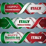Banners for Italian Republic day, holiday. Set of web banners design, background with texts and national flag colors for Italian, Republic day, holiday Royalty Free Stock Photos