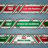 Banners for Italian Republic day, holiday. Set of web banners design, background with texts and national flag colors for Italian, Republic day, holiday Royalty Free Stock Image