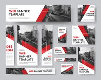 Set of web banners of different sizes with diagonal red elements. And a place for photos. Vector Templates for Web vector illustration