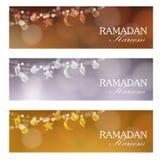 Set of web banners for muslim community holy month Ramadan Kareem. Royalty Free Stock Image
