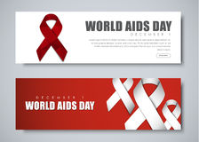 Set of web banners with ribbon for World AIDS Day. Set of horizontal web banners. Templates with a white and red ribbon for World AIDS Day. Vector illustration Royalty Free Stock Photos