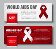 Set of web banners with ribbon for World AIDS Day. Set of web banners for the social network. Templates with a white and red ribbon for World AIDS Day. Vector Stock Image