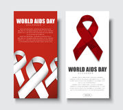 Set of web banners with ribbon for World AIDS Day. A set of vertical web banners flyers. Templates with a white and red ribbon for World AIDS Day. Vector Stock Image