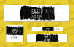 Set of Web Banners Templates hand drawn modern style for the design of web sites and online shops. Vector Royalty Free Stock Images