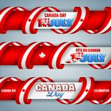 Web banners for Canada day, celebration. Set of web banners with texts, maple leaf and national flag colors for first of July, Canada day, celebration; Vector Stock Images