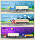 Set of web banners trucks. Color flat icons. Royalty Free Stock Image