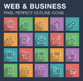 Set of web and business icons with long shadow. Stock Photos