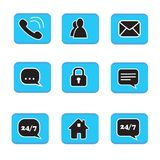 Set of web button icons contact symbol collection black and whit. E on blue button phone mail life chat home padlock people address book Royalty Free Stock Photos