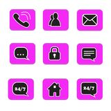 Set of web button icons contact symbol collection black and whit. E on pink button phone mail life chat home padlock people address book Stock Photography