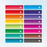 Set of web buttons with arrow. In color combination Stock Photography