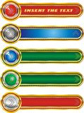 Set of web buttons with arrows pointing in silver and gold edging Stock Photo