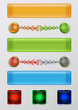 Set of web buttons, balls and arrows. Colored buttons and arrows for Web infographics Royalty Free Stock Photography