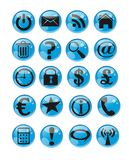 Set of web buttons. The set of blue glossy web buttons vector Royalty Free Stock Photography