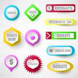 Set of web buttons for charity, donate. Vector icons: donation gift charity, money giving. Modern UI buttons  on white background Stock Photos