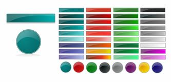 Set of web buttons. In different colors vector illustration