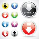 Set of web buttons for download Stock Images