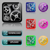 Set web buttons with gears Royalty Free Stock Photos