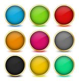 Set of web buttons with golden frames. Vector Royalty Free Stock Images