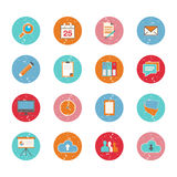Set of web circle grungy icons in flat design Stock Image