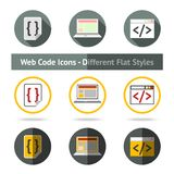 Set of Web Code icons in different flat styles Royalty Free Stock Image